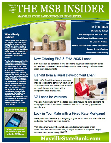 mayville state bank mayville state bank newsletters